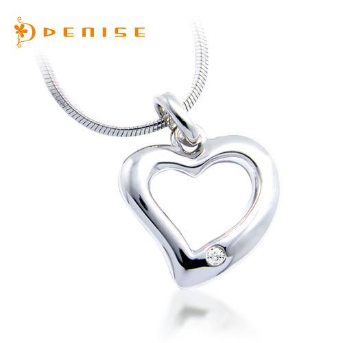 現貨3件 925純銀鍍白金墜~LOVE「天然鑽石項鍊」主石0.01克拉/銀飾禮品/情人禮物