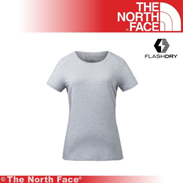 【The North Face 美國 女 短袖排汗衣/L《淺灰》】3GDW/排汗衣/短袖快排衫★滿額送