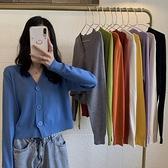 針織外套 秋季V領黑色針織衫短款上衣女春秋薄款長袖開衫毛衣外套-Milano米蘭