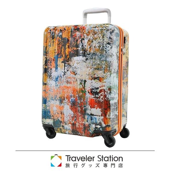 【Traveler Station】油畫彩色 19.5吋 PC 拉鍊拉桿 360度超靜音車輪 輕量 行李箱 / 旅行箱