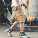 短褲男薄款工裝五分褲韓版潮流休閒褲寬鬆運動沙灘褲  蘑菇街小屋