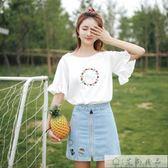 喇叭袖上衣韓版字母刺繡白色t恤