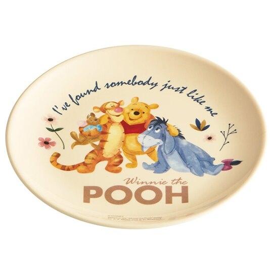 小禮堂 迪士尼 小熊維尼 圓形美耐皿盤 圓盤 點心盤 塑膠盤 (黃 搭肩) 4973307-51180