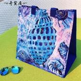 ANDCICI日系油畫海螺手提袋防水包防水袋大容量環保購物袋側背包