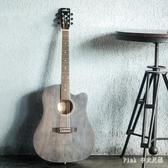 復古色民謠吉他41寸40寸黛青色初學者木吉他入門吉它學生男女樂器 qz5096【Pink中大尺碼】