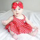 ins 紅底白點 U領 洋裝 小洋裝 無袖 露背 公主 點點 可愛 米妮 生日 周歲 大紅 吊帶裙 短裙