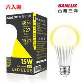 SANLUX 台灣三洋 15W LED節能燈泡 SLD-1502YT 黃光 【六入裝】