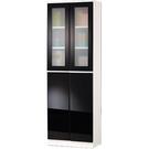 【藝匠】2尺二門二密門玻璃鏡面PU書櫃 收納櫃 書櫃 書房 置物櫃 櫃子 收藏 組合櫃 (黑)