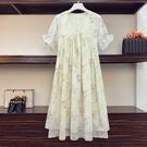 L-4XL胖妹妹大碼洋裝連身裙~大碼雪紡洋裝~大碼女裝胖妹妹雪紡印花連身裙5191.R032愛尚布衣