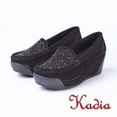 kadia.水鑽牛反毛楔型鞋(8510-93黑色)