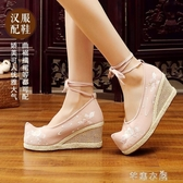 漢服鞋子女繡花鞋配漢服傳統古風古裝延禧攻略女 布鞋 高跟坡跟鞋 芊惠衣屋
