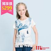 網路獨家-JJLKIDS 女童 俏皮兔子下擺流蘇拼接上衣(白色) 售價:399