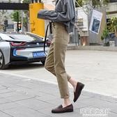 高腰牛仔褲女寬鬆春季2020新款卡其色煙管褲子顯瘦寬管九分直筒褲 中秋節全館免運