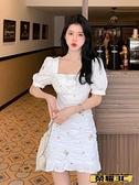 魚尾連身裙 白色刺繡碎花連身裙女2021新款夏季法式方領褶皺收腰荷葉邊魚尾裙 榮耀 618