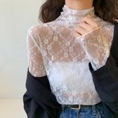 蕾絲打底衫繡花女網紗長袖彈力透視內搭半高領修身性感上衣 伊蘿