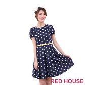【RED HOUSE-蕾赫斯】波卡點點蝴蝶結腰帶洋裝(共二色) 滿2000元現抵250元