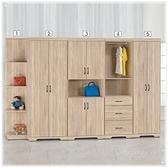 【水晶晶家具/傢俱首選】HT1529-1 艾菲爾38×203公分橡木低甲醛側邊開放衣櫃(圖編號1)