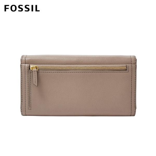 FOSSIL LOGAN 奶油駝色三折真皮拉鍊長夾 SL7833263
