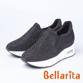 bellarita.閃亮水鑽休閒運動鞋(8956-95黑色)