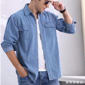 春冬季中年男棉質士牛仔襯衫寬鬆加肥加大尺碼長短袖厚款外套工作服