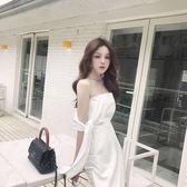 抹胸洋裝 夏季新款韓版氣質名媛性感不規則修身顯瘦繫帶一字肩抹胸洋裝 coco衣巷