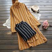 春季女裝文藝寬鬆棉麻條紋翻領上衣