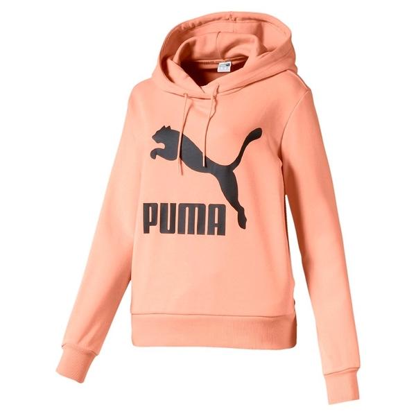 PUMA Classics 女裝 長袖 連帽 T恤 休閒 粉橘【運動世界】59520188