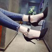 綁帶高跟鞋細跟春季一字扣黑色公主
