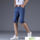 男士短褲 夏季彈力牛仔短褲男直筒寬鬆五分牛仔褲男士馬褲休閒薄款七分中褲【降價兩天】