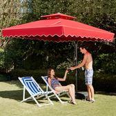 戶外遮陽傘戶外傘大型沙灘太陽傘擺攤傘方摺疊雨傘庭院傘室外防曬 卡布奇诺igo
