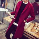 一件免運-長版外套男士秋冬季加厚中長版風衣紅色韓版修身潮流大衣