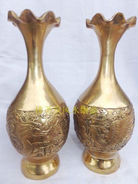 佛聖堂風水銅器 開光純銅花瓶工藝品擺件  一對