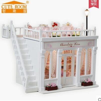 智趣屋diy小屋創意七夕禮物木質手工別墅拼裝房子模型玩具送朋友