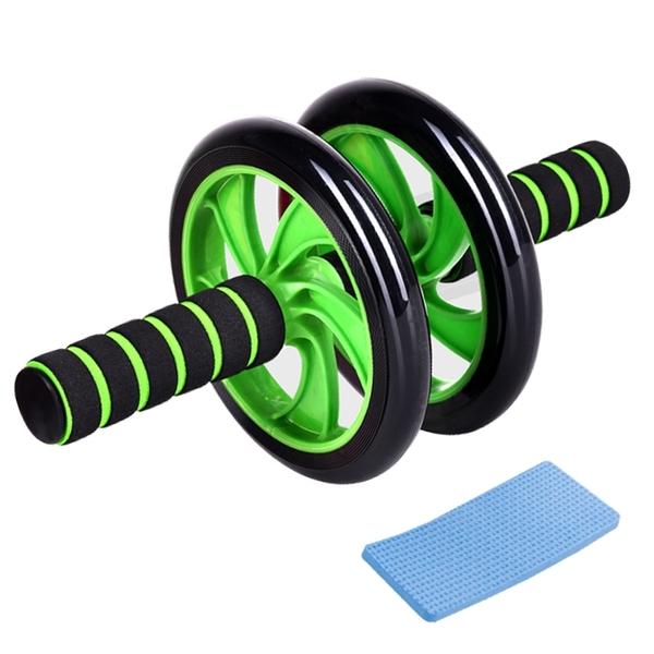 現貨!雙輪健腹輪 贈跪墊 馬甲線 收腹器 運動滾輪 腹肌輪 健腹器 健美輪 健身器材 #捕夢網