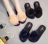 新款拖鞋女夏時尚花朵一字拖外穿涼拖鞋平底坡跟沙灘鞋涼鞋潮 【販衣小築】