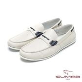 CUMAR樂活休閒  荔枝紋白底帆船鞋-白