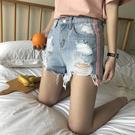 [超豐國際]女裝夏季新品高腰破洞寬松百搭闊腿熱褲牛仔短褲女(1入)