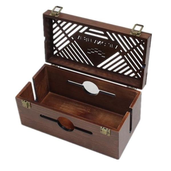 鬆木鏤空插板盒插座盒子插排盒電源電線收納盒臥室客廳專用集線盒 快速出貨