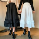 半身裙INS學生女夏季閨蜜新款寬鬆百搭顯瘦花邊裙高腰中長裙