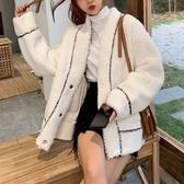 仿皮草外套 2019秋冬裝韓版V領仿羊羔絨外套女毛茸寬鬆百搭皮毛一體短款大衣 玫瑰