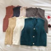 針織馬甲純色V領單排扣針織開衫馬甲女冬新款韓版文藝風外搭背心馬夾新品