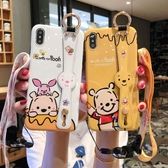 卡通小熊8plus蘋果x手機殼掛繩xs max/xr/6s/iphone7硅膠腕帶支架 亞斯藍