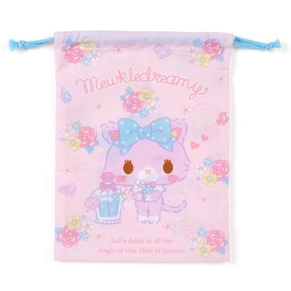 〔小禮堂〕甜夢貓 日製棉質束口袋《粉紫.香水瓶》20x27cm.縮口袋.收納袋 4901610-64572