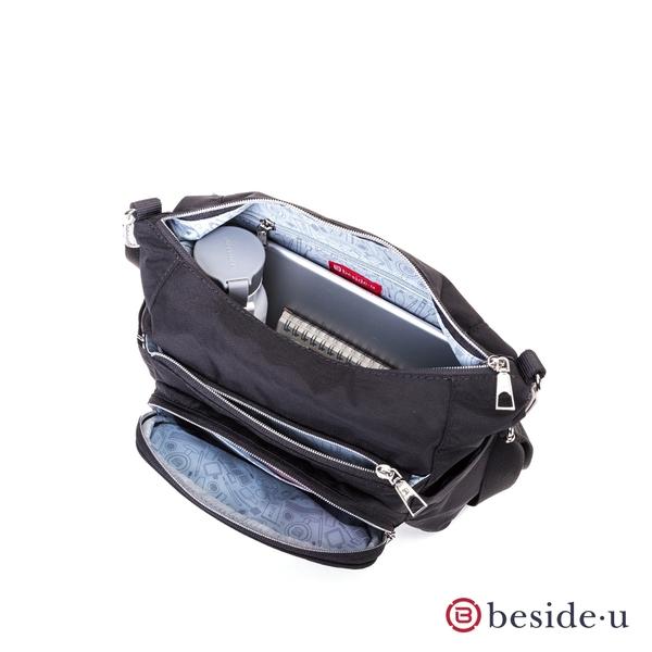 beside u BFYA 防盜刷多夾層拉鍊斜肩包側背包 – 灰藍色 原廠公司貨