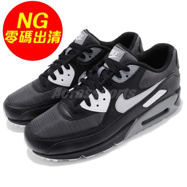 【US8.5-NG出清】Nike 復古慢跑鞋 Air Max 90 Essential 雙腳膠片發黃 黑 灰 運動鞋 男鞋【PUMP306】