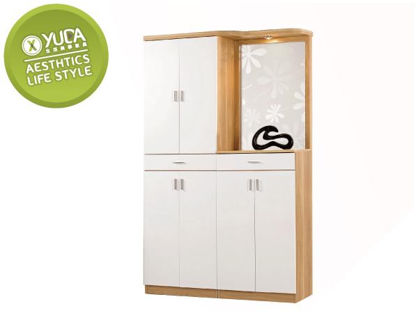 【YUDA】北歐風 羅德尼 PU塗裝 鋼印木紋 多元 現代 4尺 鞋櫃/玄關櫃/雙面櫃 J0M 321-2