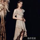 晚禮服裙高級質感女2021新款小個子高貴氣質單肩宴會洋裝中【全館免運】