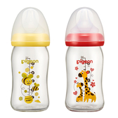 Pigeon貝親 - 母乳實感彩繪寬口玻璃奶瓶 160ml (長頸鹿/蜜蜂)