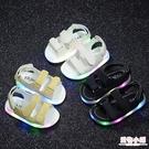 男童涼鞋2020夏季新款韓版女童發光沙灘鞋兒童中小童軟底寶寶童鞋 店慶降價