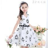 夏季女童裝童裝新款花朵裙兒童連身裙禮服 伊鞋本鋪
